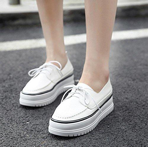 Frau Frühling Aufzugsschuhe schnüren Schuhe Student Schuhe dicke Kruste Steigung in der Ferse mit einem einzelnen Schuh Muffin Black