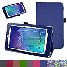"ALCATEL ONETOUCH POP 7 LTE Case,Mama Mouth PU Leather Folio 2-folding Stand Cover for 7"" Alcatel Onetouch POP 7 LTE 2016 T-Mobile Model 9015W Tablet,Dark Blue"