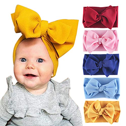 Byinns Baby Big Bow Headbands Turban Knotted Wrap Soft for Newborn Toddler Children Infant Girls 5 Pack Hair Accessories (Oversized Baby Wrap)