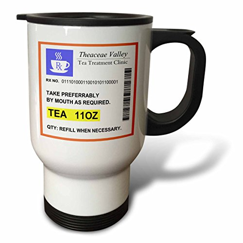 3dRose tm_194450_1 Funny Tea Prescription Humorous Prescribed Cup of Tea Joke Medicine Travel Mug, 14-Ounce, Stainless Steel (Pill Bottle Slide compare prices)