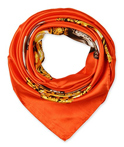 (Large Square Satin Silk Like Lightweight Scarfs Hair Sleeping Wraps for Women Tangelo Orange Pearl Pendant Pattern)