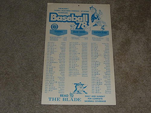 1978 CLEVELAND INDIANS MUD HENS AND DETROIT TIGERS BROADSIDE POSTER