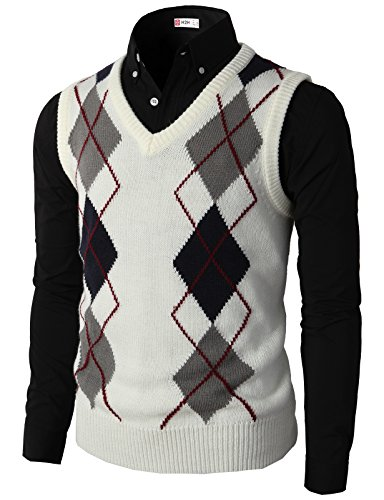 White Argyle Sweater Vest - 2