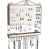 Angelynn's Hanging Jewelry Organizer Earring Holder Wall Closet Necklace Storage Bracelet Rack, Satin Nickel Silver