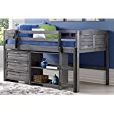 Twin Louver Low Loft Bed in Antique Gray