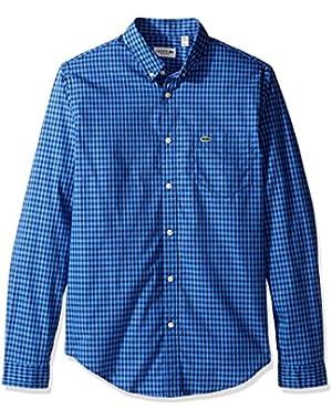Men's Long Sleeve Gingham Check Poplin Regular Fit Woven Shirt