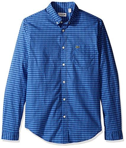 Lacoste Men's Long Sleeve Gingham Check Poplin Reg Fit Woven Shirt, CH3940, Methylene/Flower Purple, L - Gingham Check Shirt