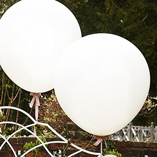GuassLee Giant Balloons 36-Inch White Balloons - 6 Big Latex Balloons for Birthdays Wedding and Event -