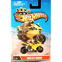 DUCATI 1098R * YELLOW MOTORCYCLE & RIDER * Hot Wheels 1:64 Scale 2012 Die-Cast Vehicle