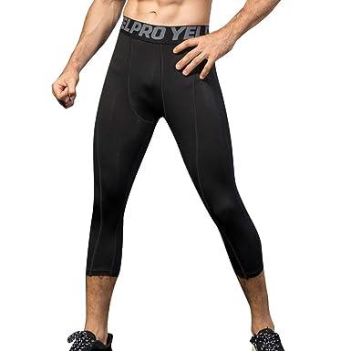 Yuerlian Mens 3 4 Compression Leggings Base Layer Running Tights Sports  Capri Pants 6a095ed48