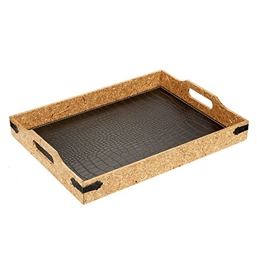 Serving Tray - Breakfast In Bed Decorative Cork Tray with Handles, Alligator Leatherette, 15.7 x 11.8 x 2.5 (Cork Lined Tray)