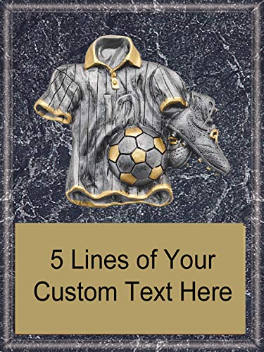 Express Medals 6 x 8 Black Marble Finish Wood Plaque with Heavy Resin Soccer Detail Award Trophy with Custom Engraved Personalized Text