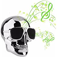 BeatlesStore(Silver) Hot Sell New Portable Metal Skull Glasses Wireless Bluetooth Super Bass Speaker