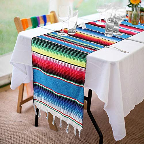 Mexican Serape Table Runner 14 x 84 Inch Hand-Woven Blanket Colorful Striped Mexican Table Runner Mexican Party Wedding Decorations, Fringe Cotton Table - Woven Hand Table Runner