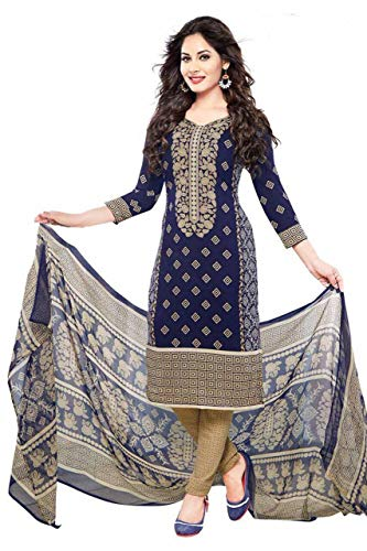 CRAFTSTRIBE Indian Bollywood Women Polyester Unstitched Salwar Kameez Dress Suit Material ()