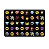Uphome Cute Emoji Emoticon Bathroom Shower Accent Rug - Non-slip Soft Absorbent Bathroom Kitchen Floor Mat Carpet (16 x 24 Inch) (Black)