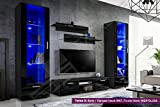 New Smart Living Room Furniture Set - High Gloss Fronts - Display Wall Unit - TV Floor Unit - Freestanding Cabinet (Twins 3 / BBB)
