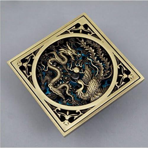 Antique Brass Chinese Dragon Style Floor Drain Bathroom Ground Overflow Fitting,Dark Khaki #599 well-wreapped