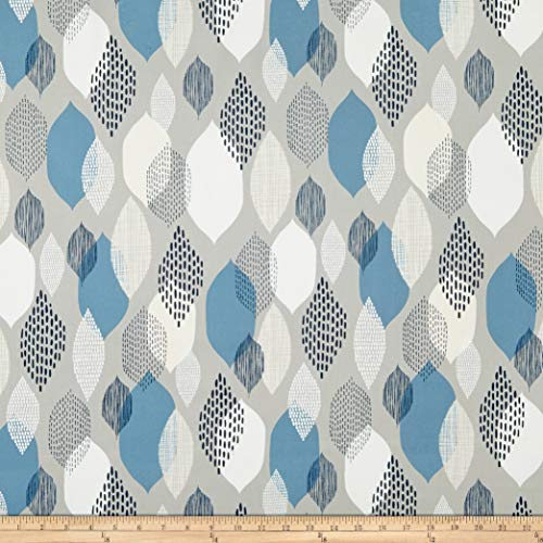 Cloud 9 Organic Modern Abstractions Barkcloth Ground Cover Fabric, Grey/Blue, Fabric By The Yard ()