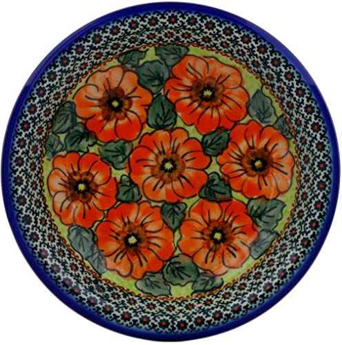 Polish Pottery 9-inch Pasta Bowl (Fiery Poppies Theme) Signature UNIKAT + Certificate of Authenticity