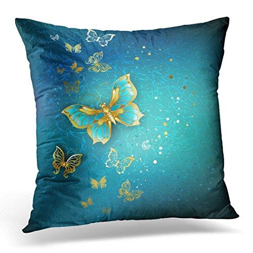 Sdamase Throw Pillow Cover Purple Elegant Luxury Gold Butterflies on Blue Textural Golden Decorative Pillow Case Home Decor Square 18