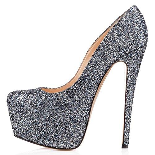 15 FSJ Shoes Glitter Pumps Sky Pointed high Toe US Women Heel 4 Slip Stiletto on Dress Size Paf6Pqpxwn