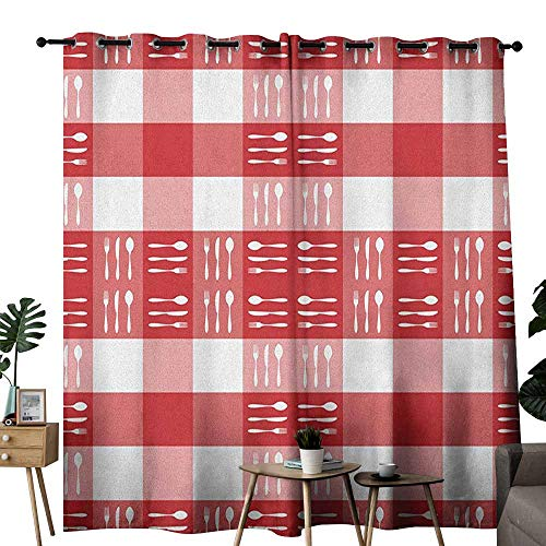 duommhome Checkered Fashion Curtain Cutlery Silhouettes on Squares Dining Picnic Themed Tile Spoons Forks Knives Set of Two Panels W120 x L84 Red Pink White