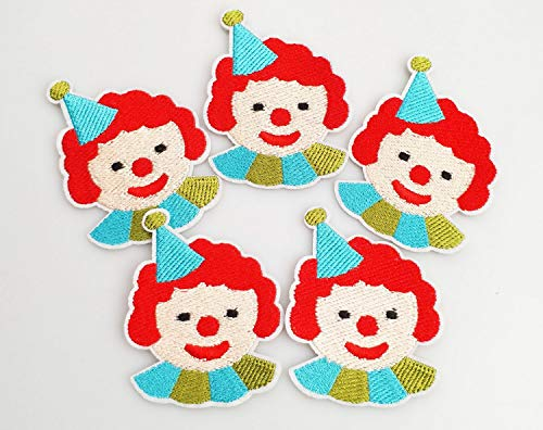 5.3x6.5cm 10pcs Circus Clown Face Head Patches Iron On Sew On Cloth Embroidered Patches Appliques Machine Embroidery Needlecraft Project