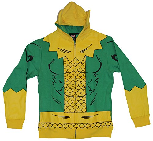 [Thor (Marvel Comics) Loki Mens Hoodie Sweatshirt - Simple Loki Costume W/ Horns (Large) Green] (Loki Costume)
