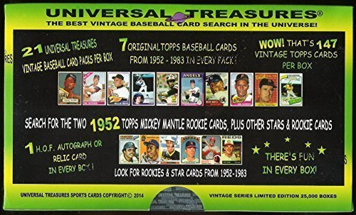UNIVERSAL TREASURES BASEBALL BOX 21 VINTAGE PACKS PER BOX 7 TOPPS CARDS PER PACK BETWEEN 1952 - 1983 SEARCH FOR 1952 MICKEY MANTLE ROOKIES & STARS FROM 1952 -1983 & (Schmidt Autographs)