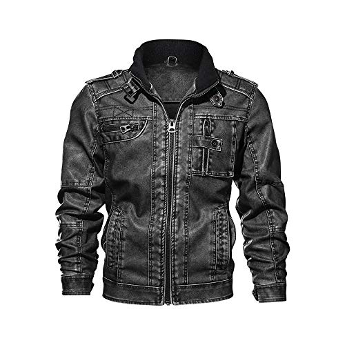 DaySeventh Men's Fashion Jacket Pure Color Zipper Stand Collar Imitation Leather Coat Tops -