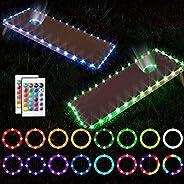LED Cornhole Lights, Remote Control Cornhole Board Edge and Hole Ring Lights Set for Family Backyard Outdoor B