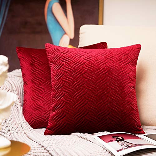 Homiin Red Velvet Throw Pillow Covers, 18 x 18 inch Decorative Pillow Covers 2pc, New-Season Artistic Design Thick…