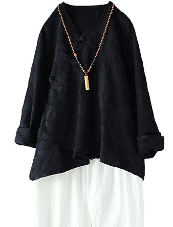 MatchLife Damen Bluse Leinen Langarm Tunika Casual Jacquard Oberteile Vintage Asymmetrisch Top Schwarz XL