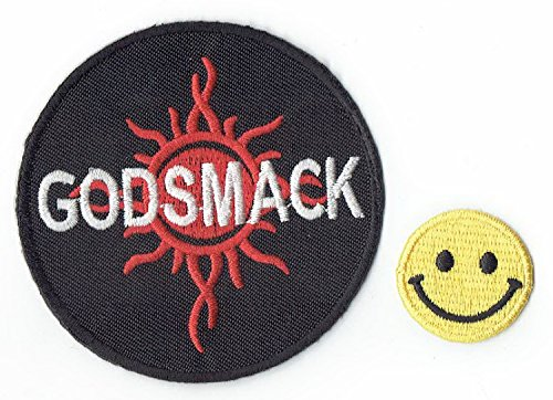 """""""GODSMACK : an American rock music band"""" Applique embroidered iron on PATCHES (Wappen, ???? , ?? ) with Yellow Tiny Smiley Patches by PATCH CUBE"""