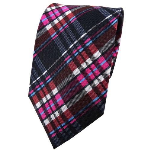 TigerTie cravate en soie pink brun anthracite noir argent à carreaux - cravate en soie