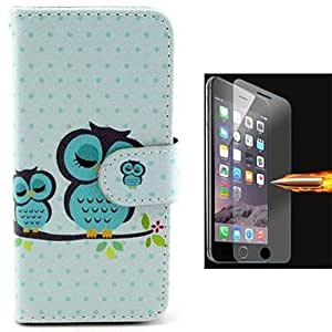MOM Size of Owls PU Leather Full Body Case with Explosion-Proof Glass Film for iPhone 6