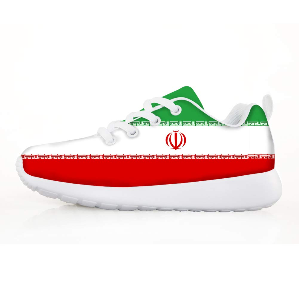 Owaheson Boys Girls Casual Lace-up Sneakers Running Shoes Iran Flag