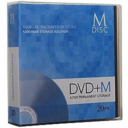 M-DISC 4.7GB DVD+R Permanent Data Archival/Backup Blank Disc Media - 20-Pack