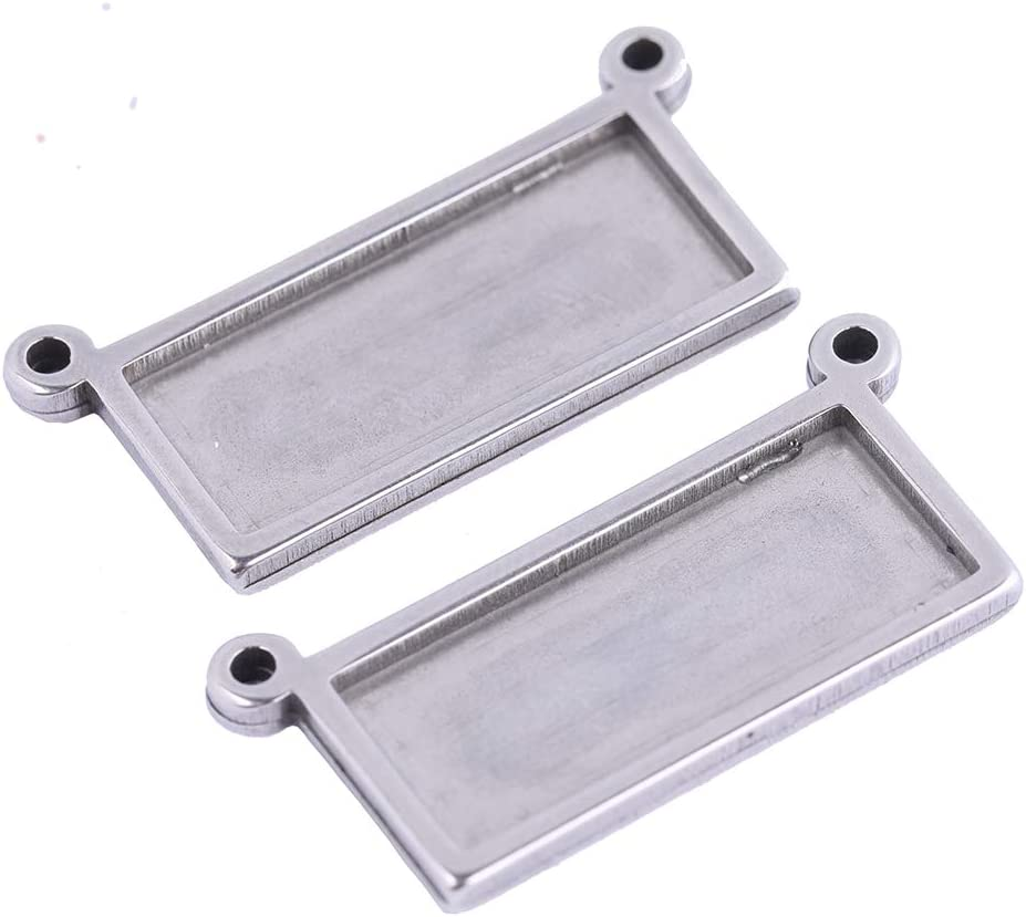 Reidgaller 10pcs Stainless Steel 10x25mm Rectangle Cabochon Pendant Connector Base Setting Trays DIY Necklace Bezels for Jewelry Making