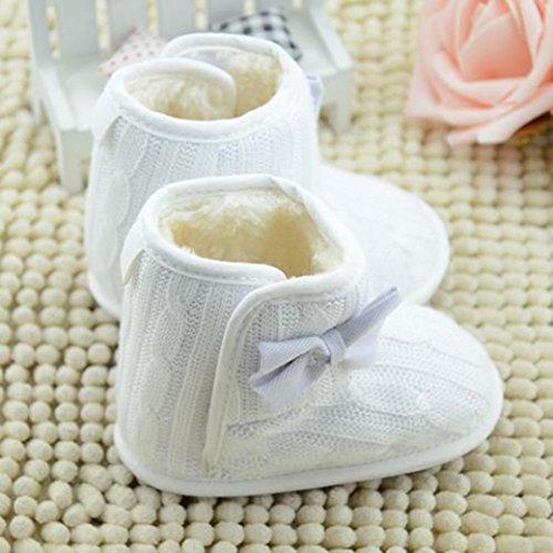 Tefamore zapatos bebe de antideslizante de sole suave de moda invierno de calentar para chicas blanco