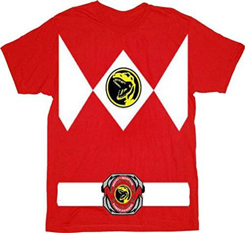 Power Rangers Red Ranger Costume Red T-Shirt Tee (XXX-Large)