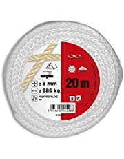 Chapuis FDB820 touw, polypropyleen, gevlochten, scheurvast, referentienummer: 685 kg, diameter 8 mm, lengte 20 m, wit