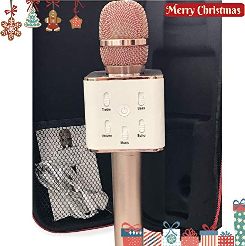 Bluetooth Microphone Wireless Karaoke Mic Portable Handheld Home KTV USB Charging for Iphone Ipad Apple Android or PC & Smartphone