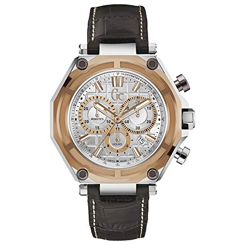 Guess GC Men's Gc-3 Sport 44.5mm Brown Leather Band Steel Case Quartz Silver-Tone Dial Analog Swiss Watch X10001G1S