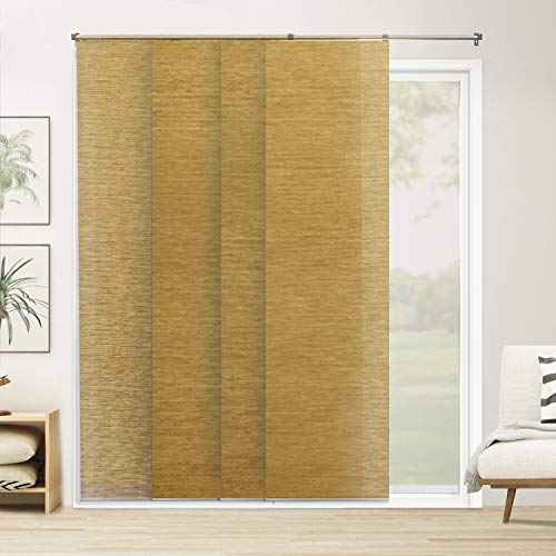 "CHICOLOGY Adjustable Sliding Panels Cut to Length Vertical Blinds, Up to Up to 80"" W X 96"" H, 3. Carlisle Saffron (Natural Woven)"