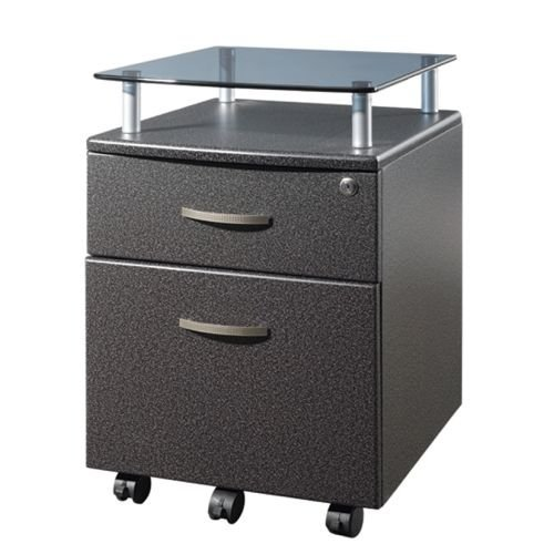 Techni Mobili Rolling Storage Cabinet with Glass Top, Graphite RTA-S06-GPH06