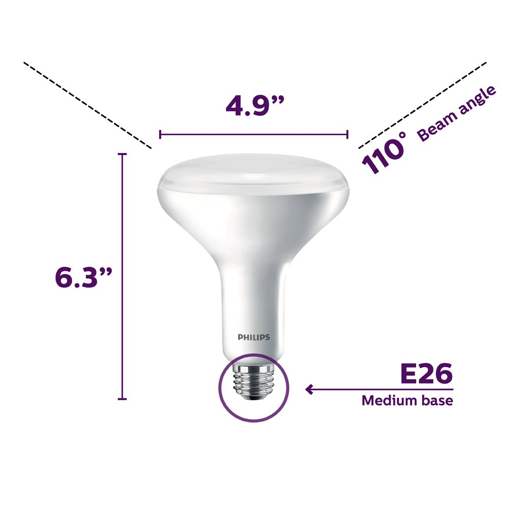 Philips LED Dimmable BR40 Soft White Light Bulb with Warm Glow Effect 800-Lumen, 2700-2200-Kelvin, 10-Watt (65-Watt Equivalent), E26 Base, Frosted, 6-Pack by Philips LED (Image #3)