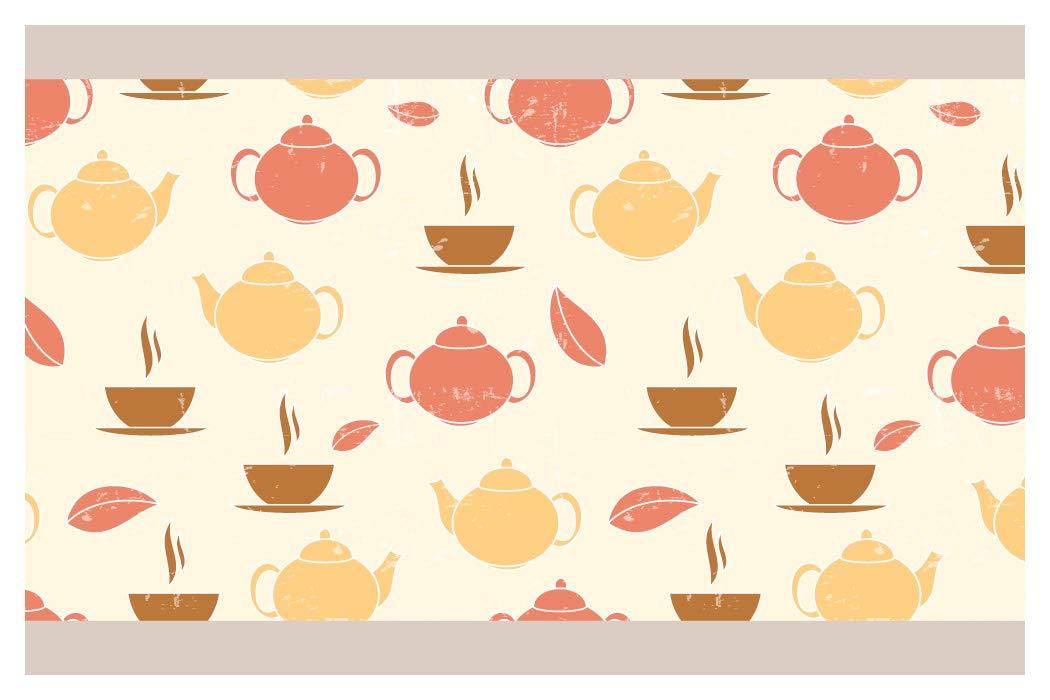 I-love-Wandtattoo b-10131 Bordo decorativo adesivo da parete, motivo Teiera e tazza da tè, L'ora del tè cucina confine decorare,5m