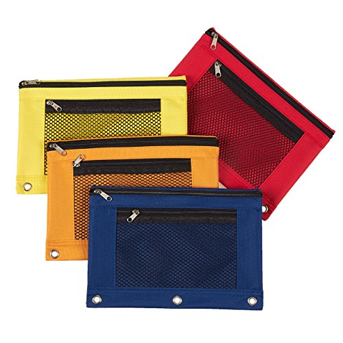 3-Ring Pencil Pouches - Set of 4 Zippered Pencil Pouches, Binder Pencil Bags for Stationery Accessories, Cosmetics, Documents, Daily Essentials, Blue, Red, Orange, Yellow, 9.7 x 6.5 Inches